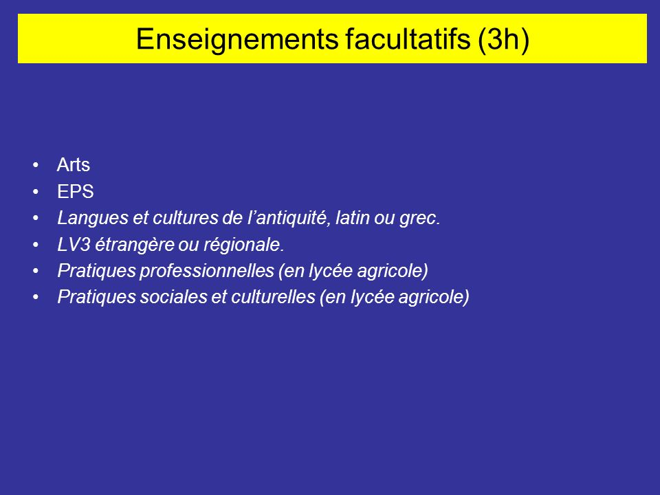 Enseignements facultatifs (3h)