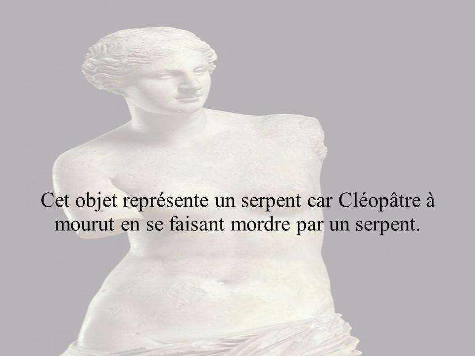 Cet objet représente un serpent car Cléopâtre à mourut en se faisant mordre par un serpent.