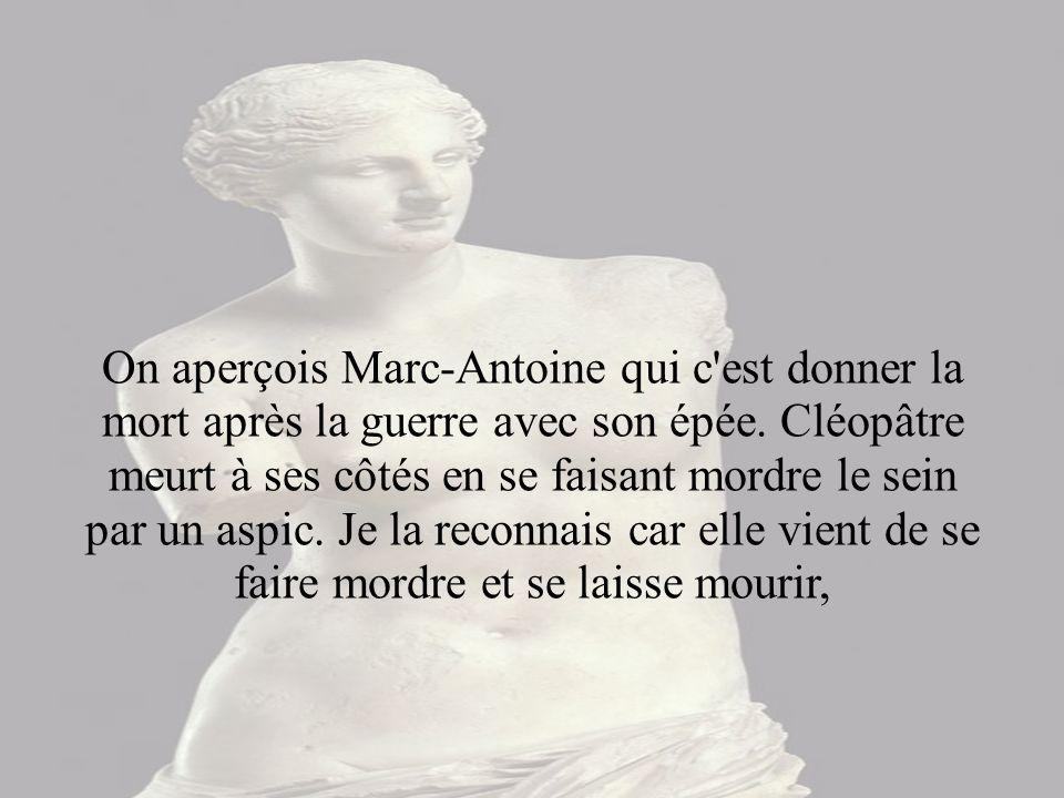On aperçois Marc-Antoine qui c est donner la mort après la guerre avec son épée.