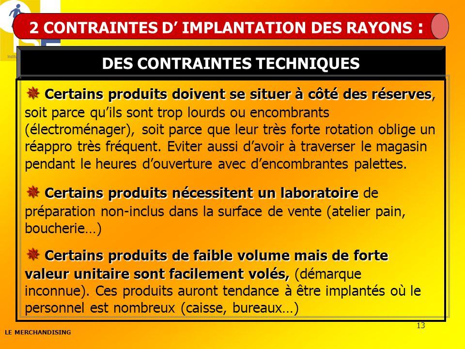 2 CONTRAINTES D' IMPLANTATION DES RAYONS : DES CONTRAINTES TECHNIQUES