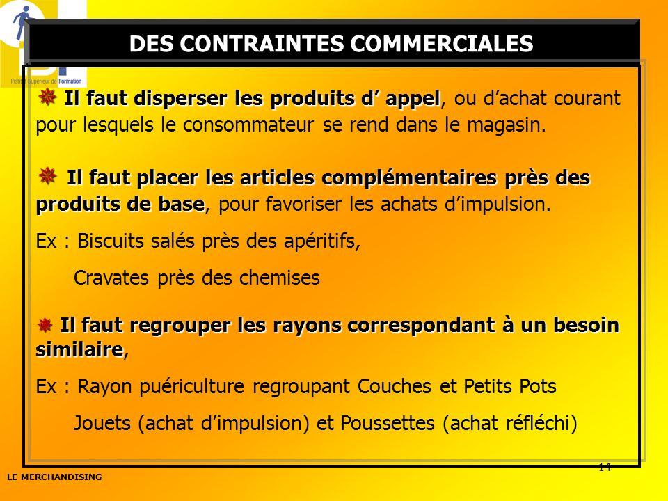DES CONTRAINTES COMMERCIALES