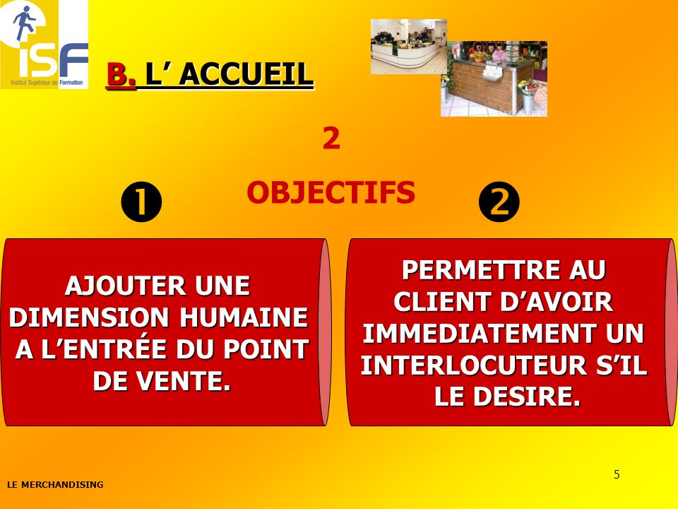   B. L' ACCUEIL 2 OBJECTIFS PERMETTRE AU AJOUTER UNE CLIENT D'AVOIR