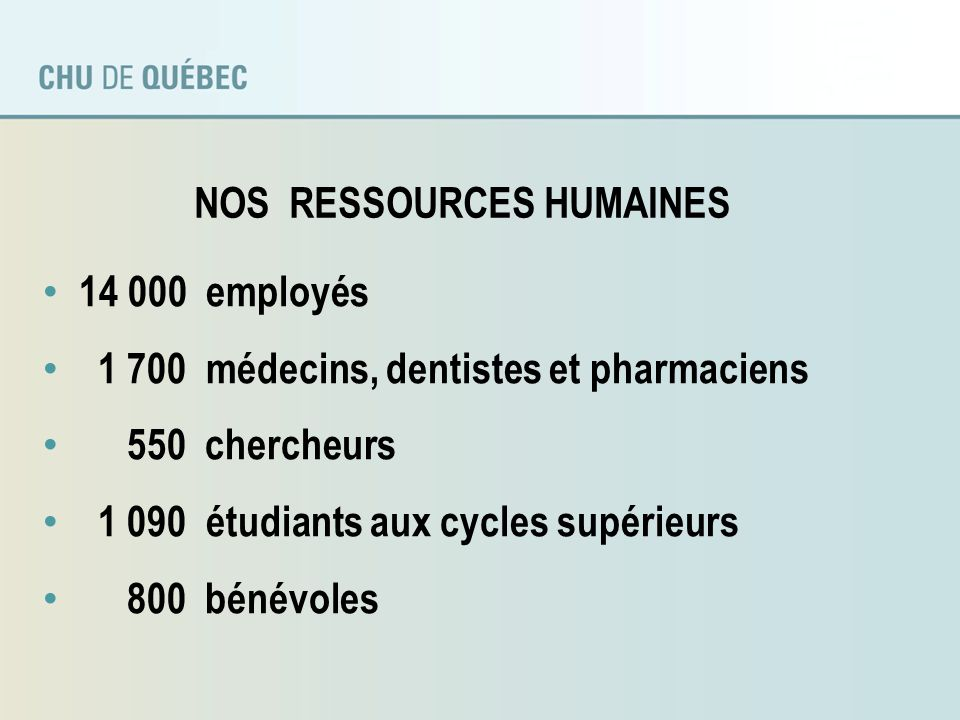 NOS RESSOURCES HUMAINES