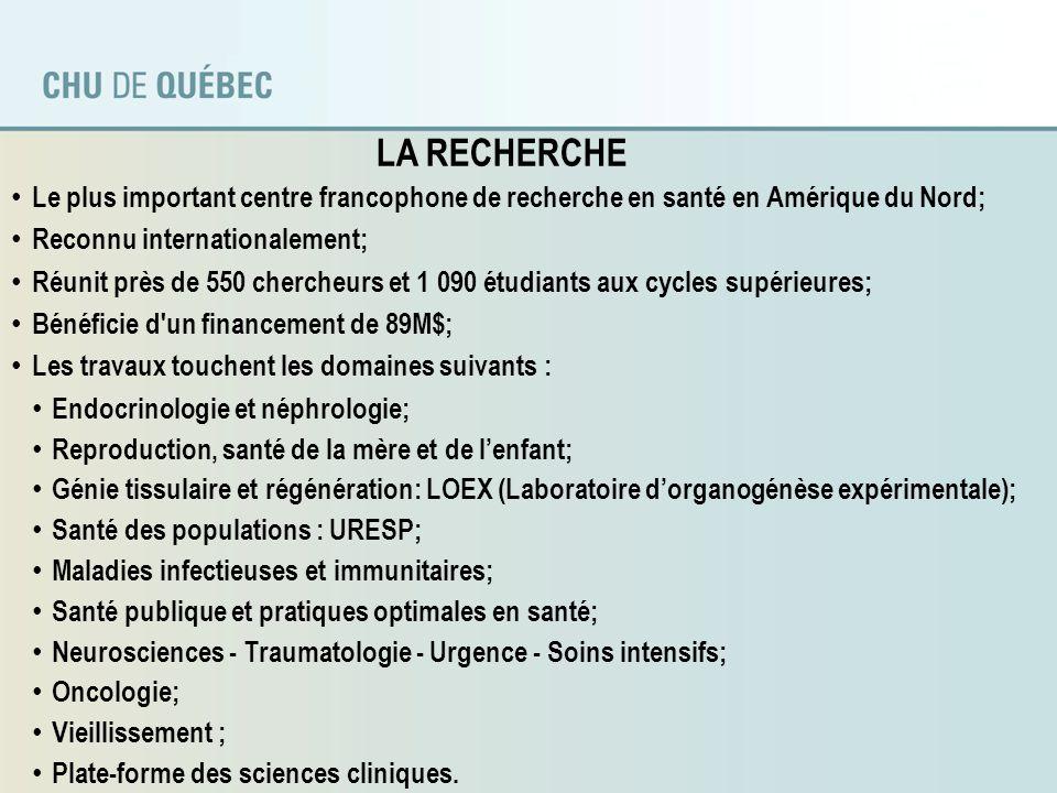LA RECHERCHE Le plus important centre francophone de recherche en santé en Amérique du Nord; Reconnu internationalement;
