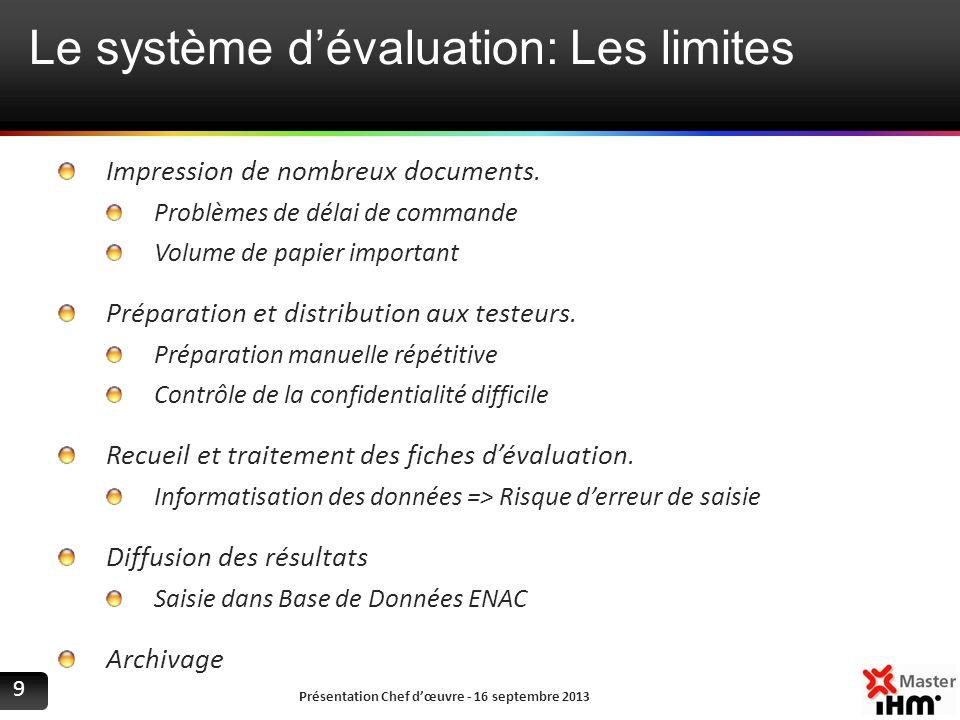Le système d'évaluation: Les limites