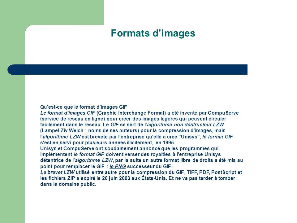Formats d'images Qu est-ce que le format d images GIF