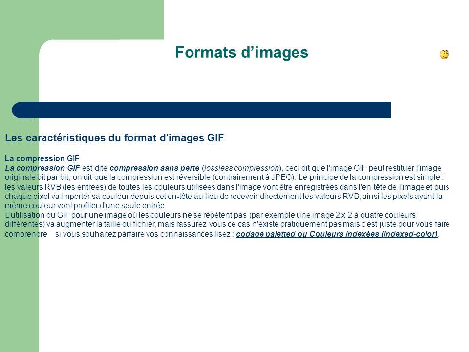 Formats d'images Les caractéristiques du format d images GIF