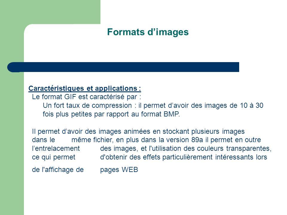 Formats d'images Caractéristiques et applications :