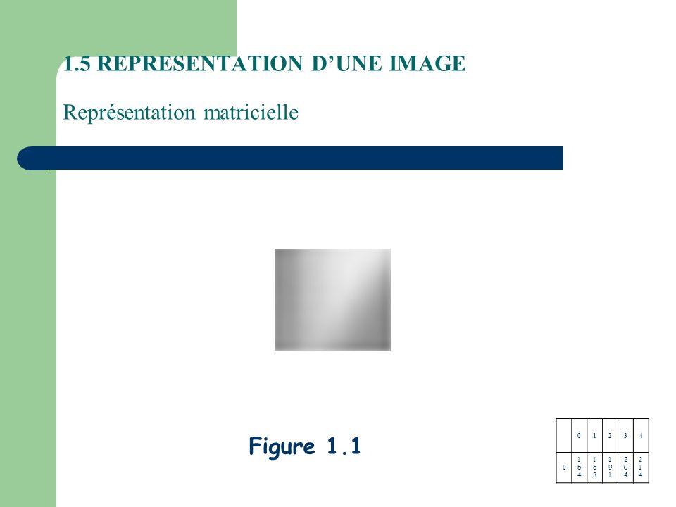 1.5 REPRESENTATION D'UNE IMAGE Représentation matricielle