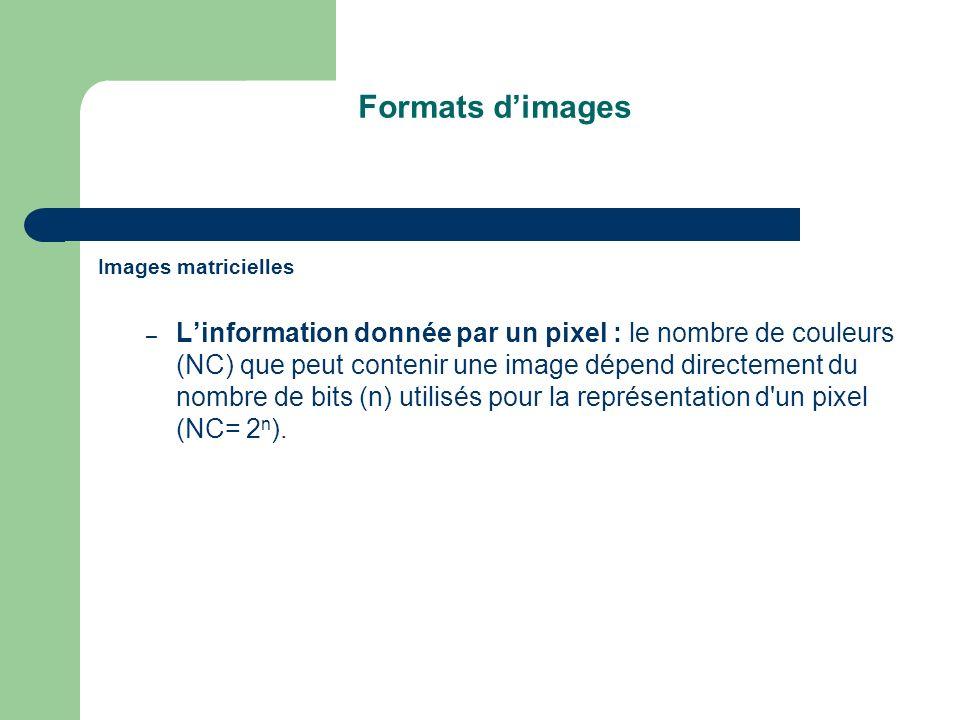 Formats d'images Images matricielles.