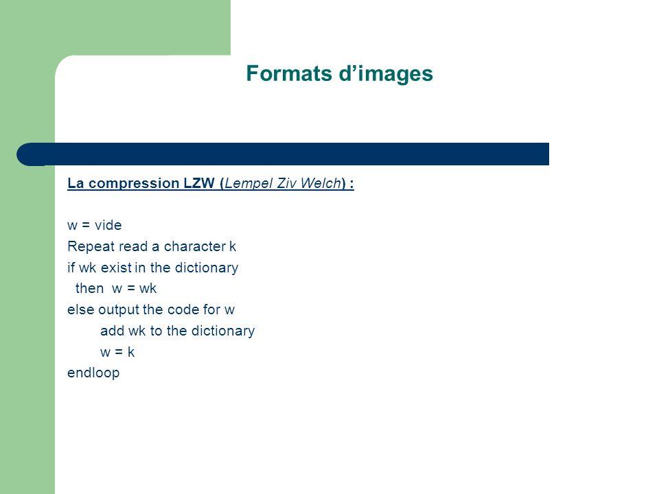 Formats d'images La compression LZW (Lempel Ziv Welch) : w = vide