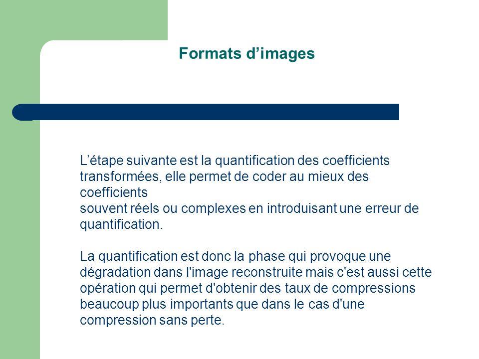 Formats d'images L'étape suivante est la quantification des coefficients transformées, elle permet de coder au mieux des coefficients.
