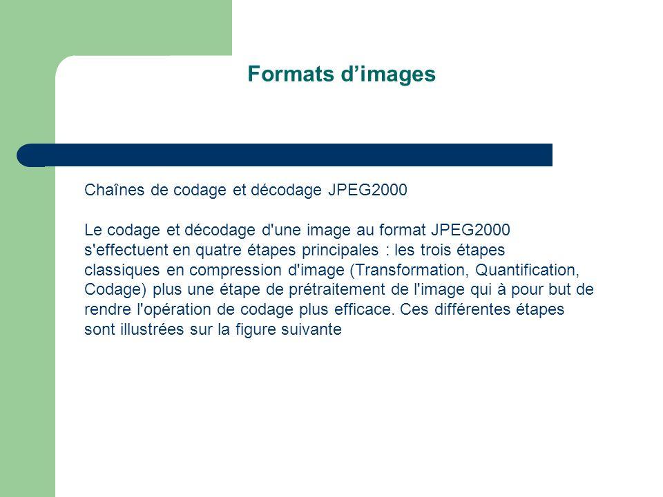 Formats d'images Chaînes de codage et décodage JPEG2000