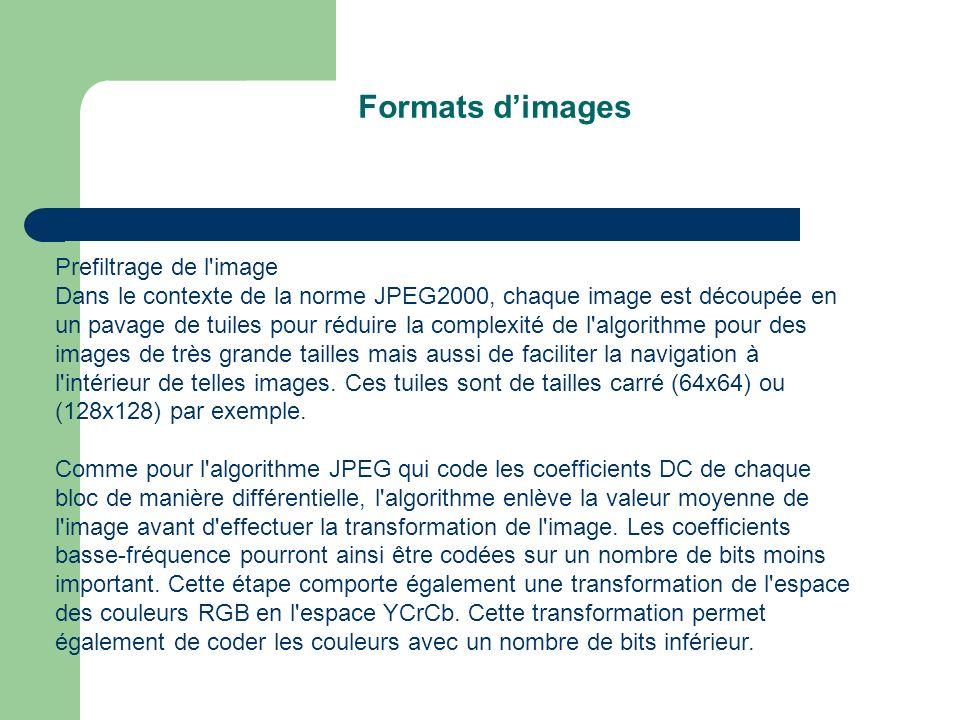 Formats d'images Prefiltrage de l image