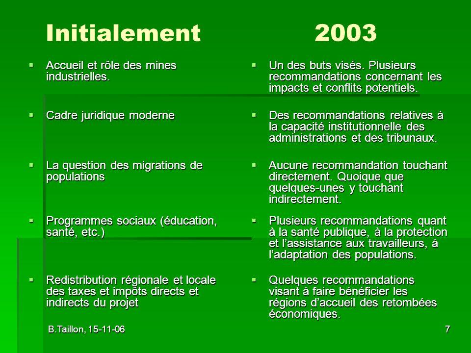 Initialement 2003 Accueil et rôle des mines industrielles.