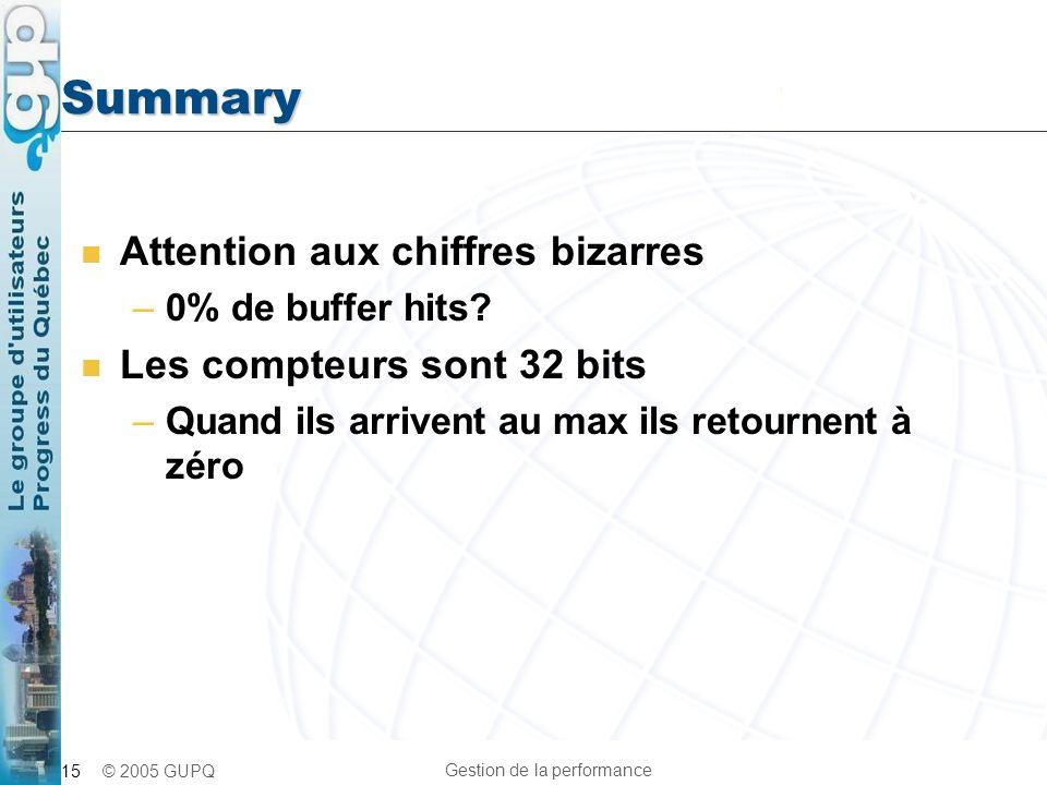 Summary Attention aux chiffres bizarres Les compteurs sont 32 bits