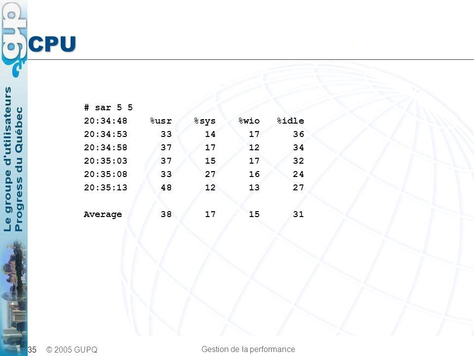 CPU # sar 5 5 20:34:48 %usr %sys %wio %idle 20:34:53 33 14 17 36