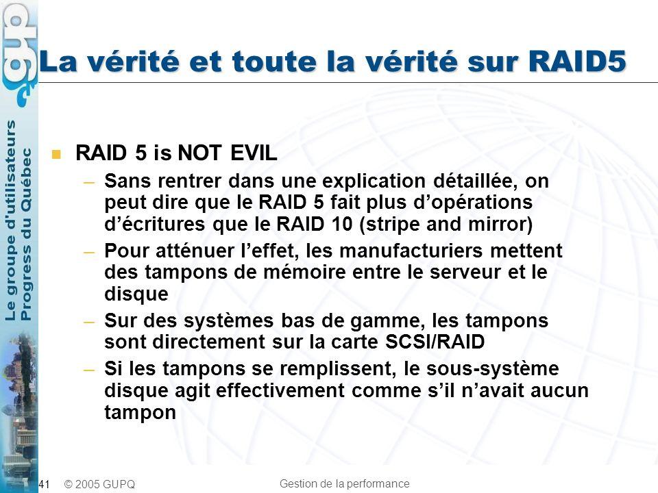 La vérité et toute la vérité sur RAID5