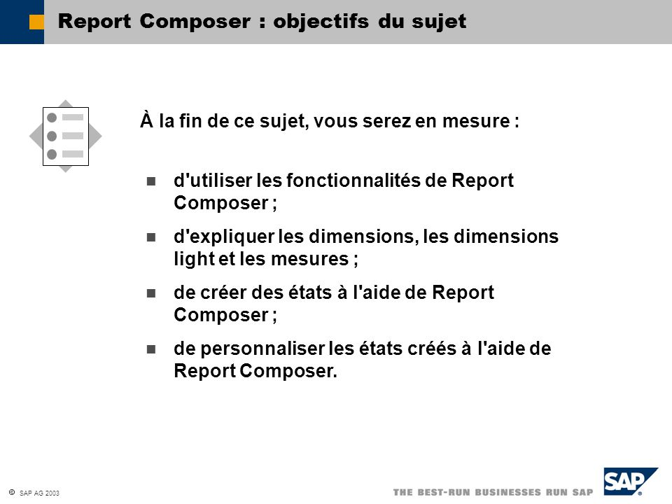 Report Composer : objectifs du sujet