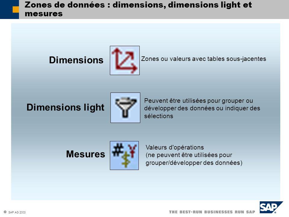 Zones de données : dimensions, dimensions light et mesures