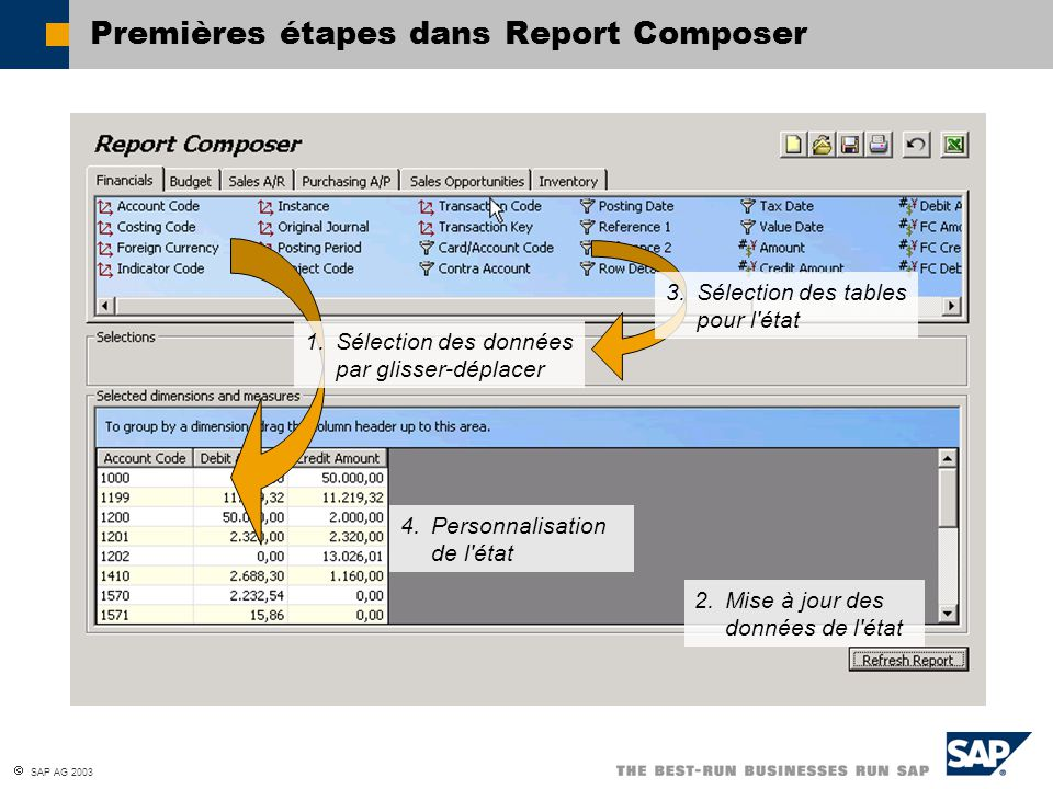Premières étapes dans Report Composer