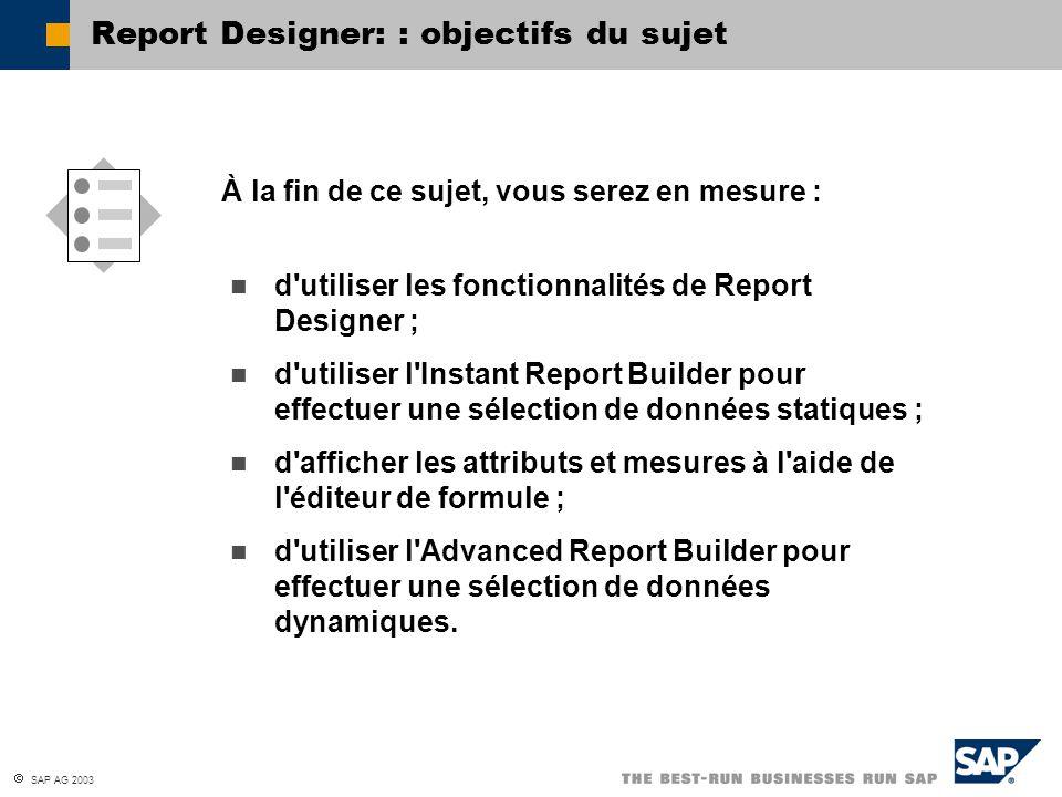 Report Designer: : objectifs du sujet