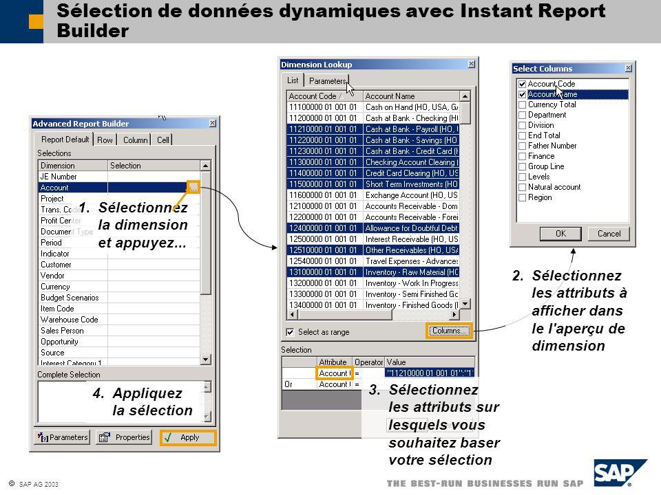 Sélection de données dynamiques avec Instant Report Builder