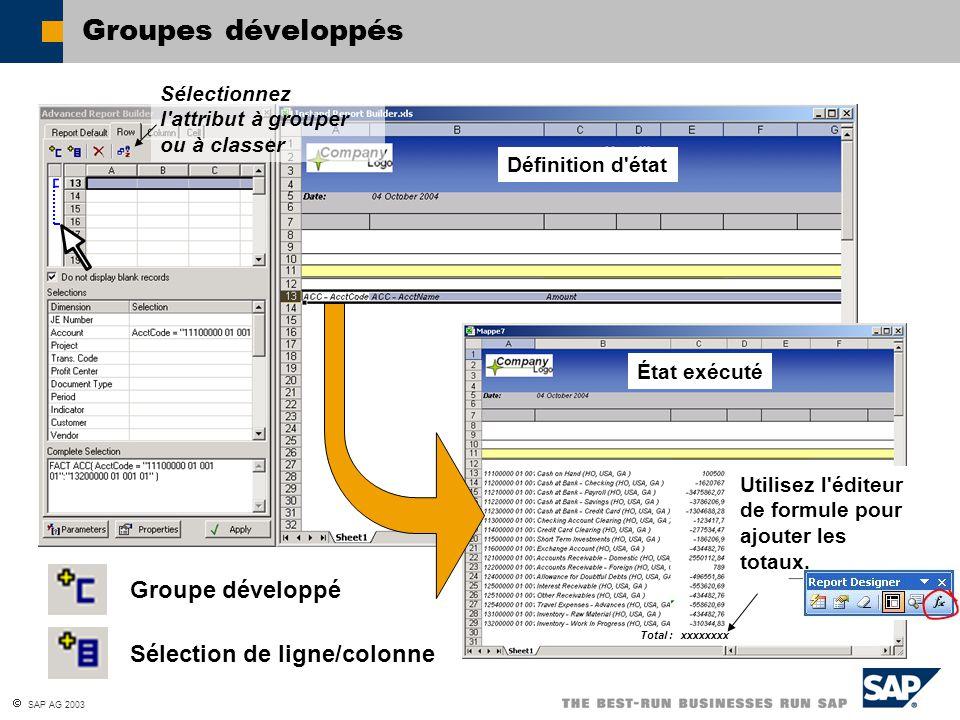Groupes développés Groupe développé Sélection de ligne/colonne