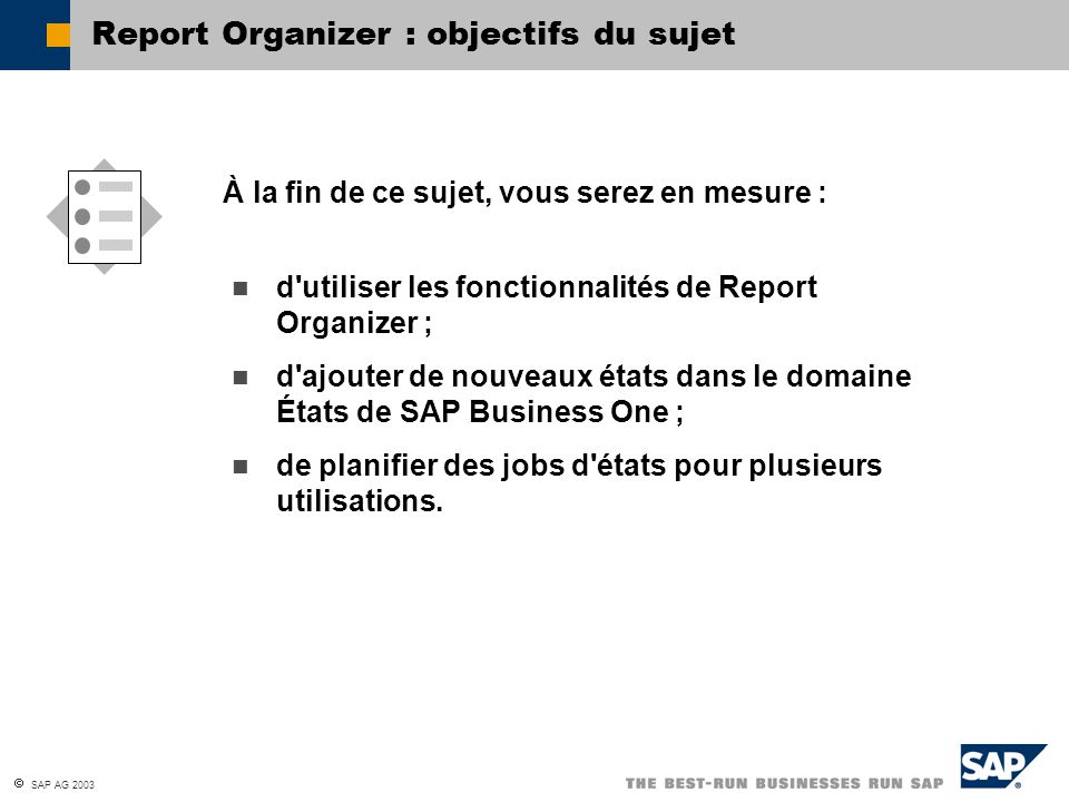 Report Organizer : objectifs du sujet