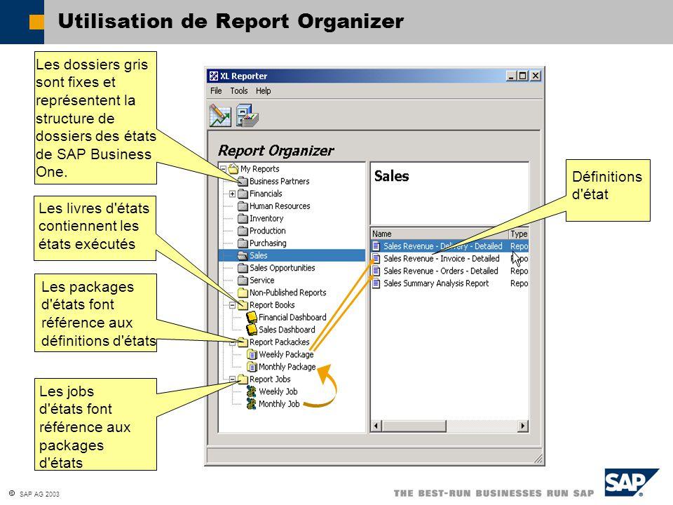 Utilisation de Report Organizer