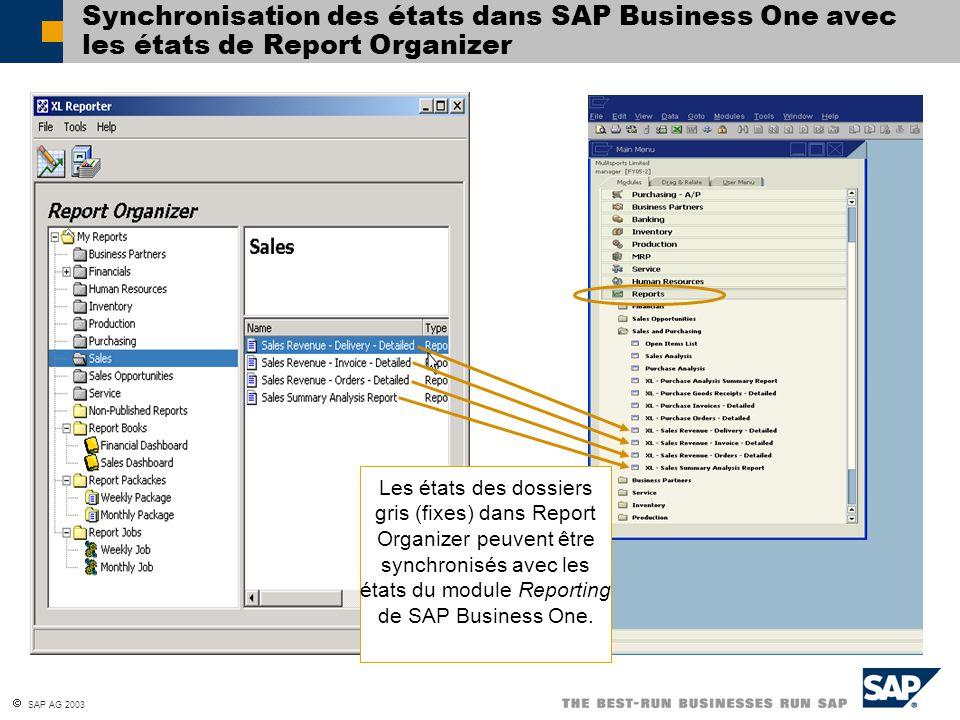 Synchronisation des états dans SAP Business One avec les états de Report Organizer
