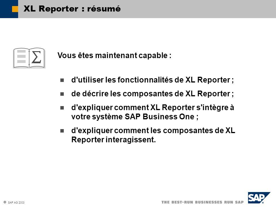 XL Reporter : résumé Vous êtes maintenant capable :
