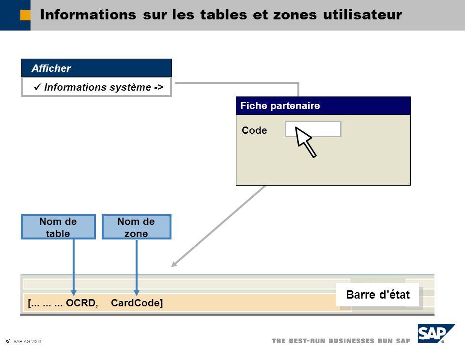 Informations sur les tables et zones utilisateur