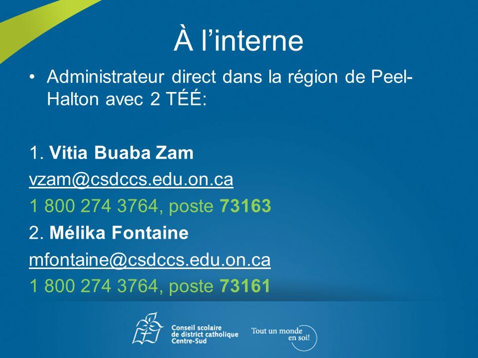 À l'interne Administrateur direct dans la région de Peel-Halton avec 2 TÉÉ: 1. Vitia Buaba Zam. vzam@csdccs.edu.on.ca.