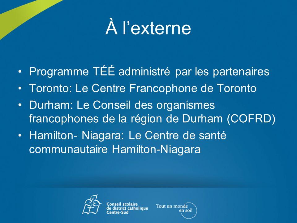 À l'externe Programme TÉÉ administré par les partenaires