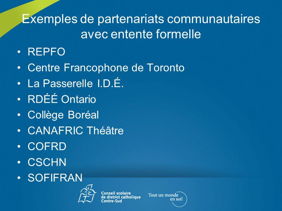Exemples de partenariats communautaires avec entente formelle
