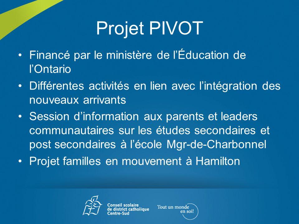 Projet PIVOT Financé par le ministère de l'Éducation de l'Ontario