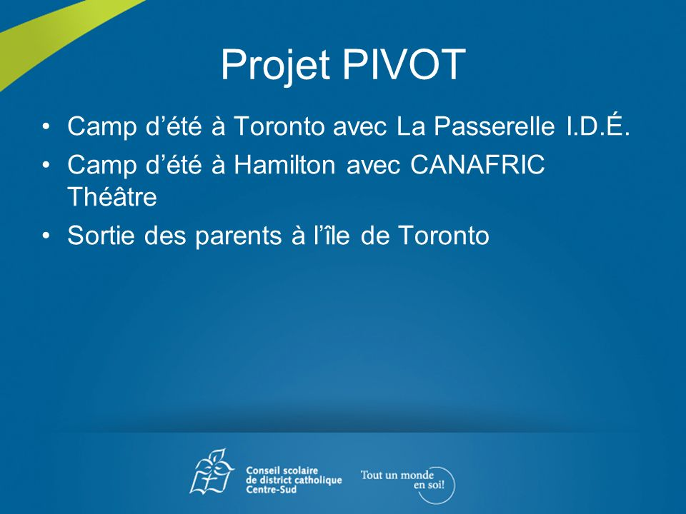 Projet PIVOT Camp d'été à Toronto avec La Passerelle I.D.É.