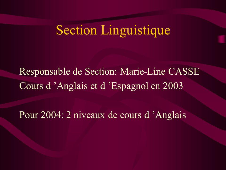 Section Linguistique Responsable de Section: Marie-Line CASSE