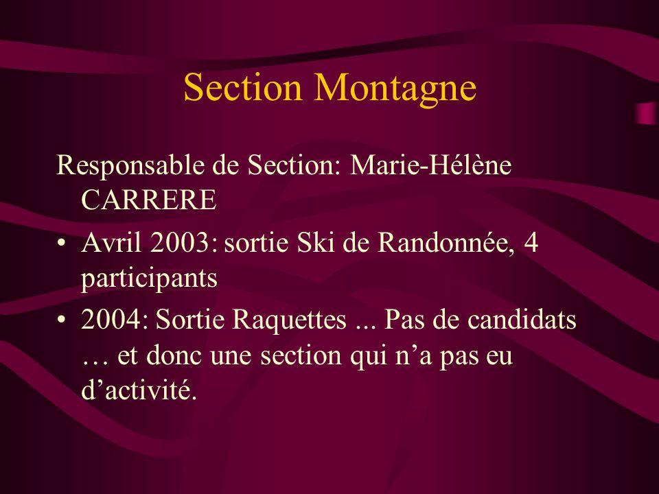 Section Montagne Responsable de Section: Marie-Hélène CARRERE