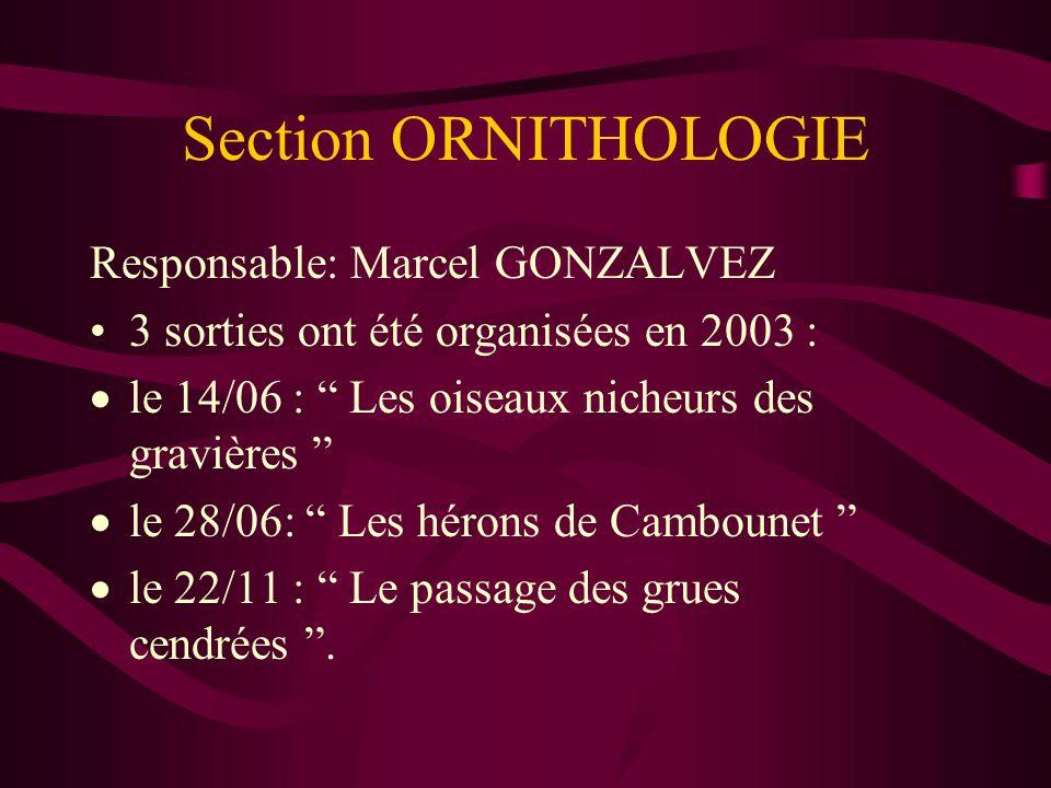 Section ORNITHOLOGIE Responsable: Marcel GONZALVEZ