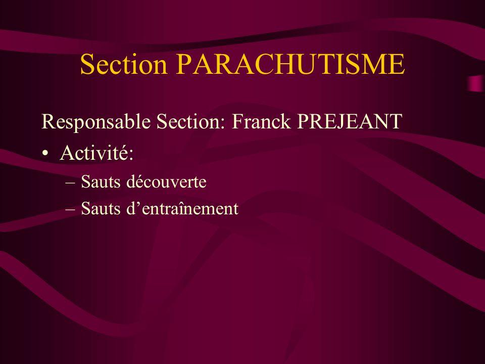 Section PARACHUTISME Responsable Section: Franck PREJEANT Activité: