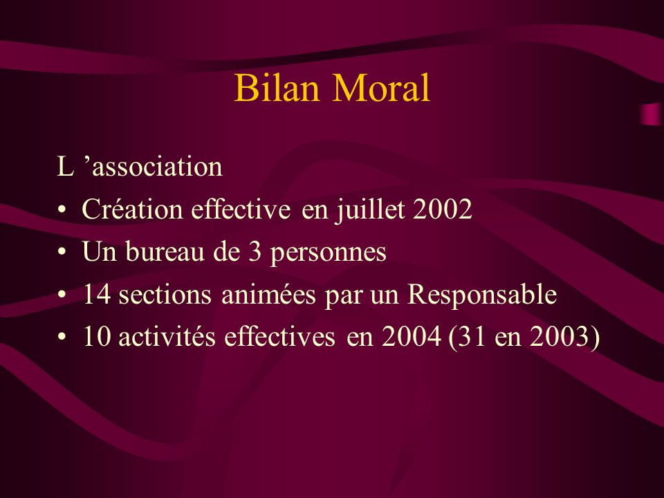 Bilan Moral L 'association Création effective en juillet 2002