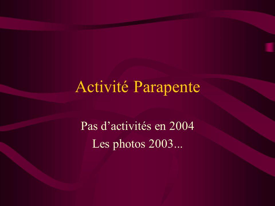 Pas d'activités en 2004 Les photos 2003...