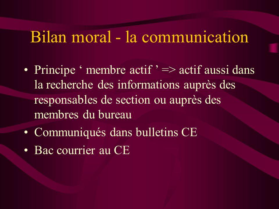 Bilan moral - la communication