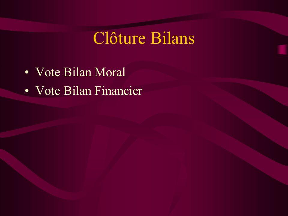 Clôture Bilans Vote Bilan Moral Vote Bilan Financier