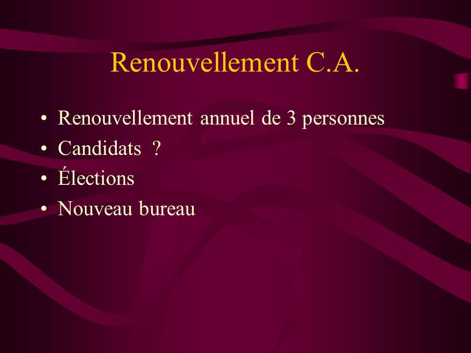 Renouvellement C.A. Renouvellement annuel de 3 personnes Candidats