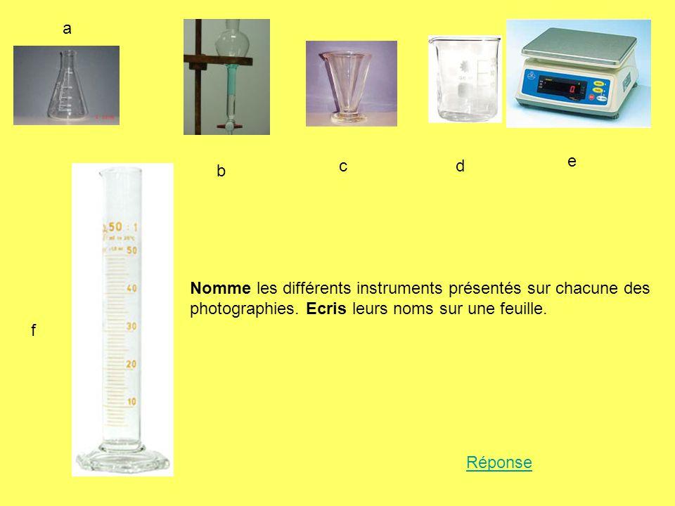 a e. c. d. b. Nomme les différents instruments présentés sur chacune des photographies. Ecris leurs noms sur une feuille.