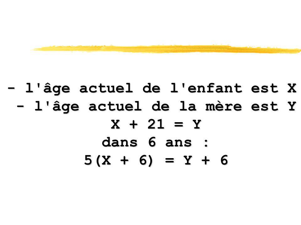 - l âge actuel de l enfant est X - l âge actuel de la mère est Y