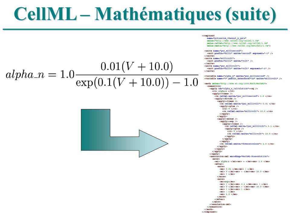 CellML – Mathématiques (suite)